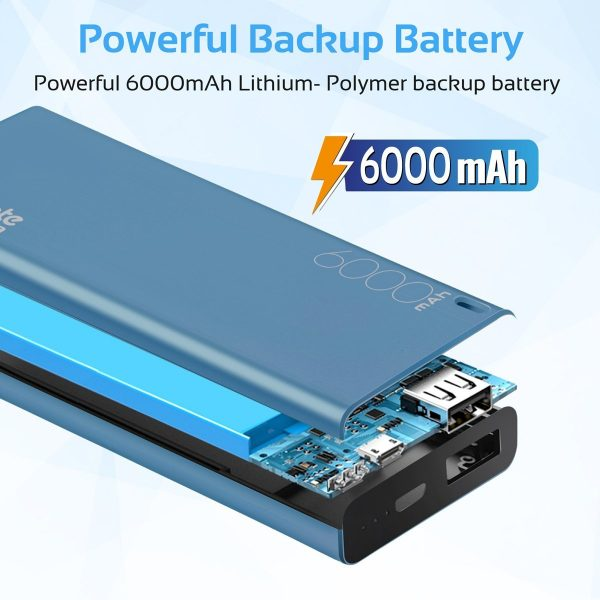 Power Bank 6000 mAh Ultra Slim Energi Biru PROMATE