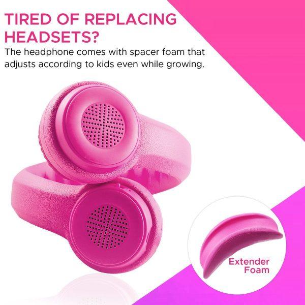Kid Wireless Bluetooth Headset Stereo On Ear Flexure Pink PROMATE