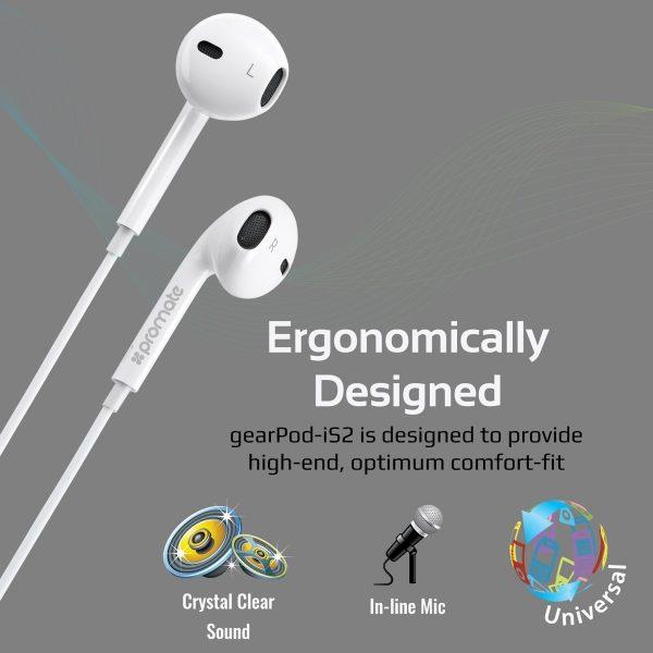 Wired Earbud Stereo In Ear gearPod Putih PROMATE