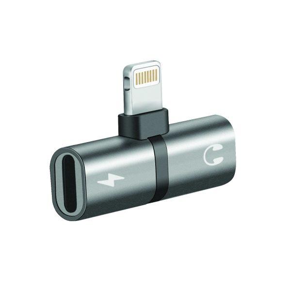 Adapter iPhone Charger Headset iHinge Abu-abu PROMATE
