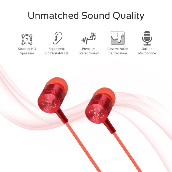 Wired Earphone Stereo In Ear Red PROMATE