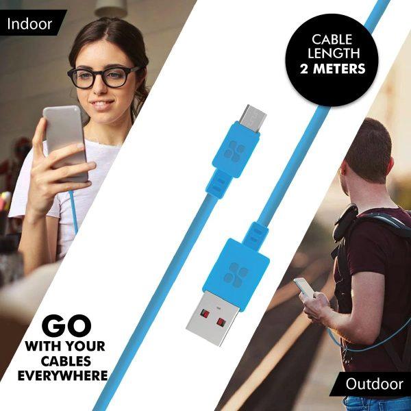 Kabel Data Charger Micro USB MicroCord Biru PROMATE