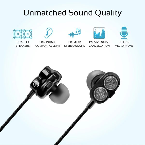 Wired Earphone Double Bass Stereo In Ear Hitam PROMATE