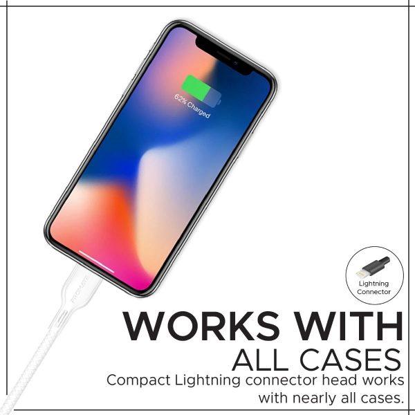 Kabel Data iPhone Pendek PowerBeam Putih PROMATE