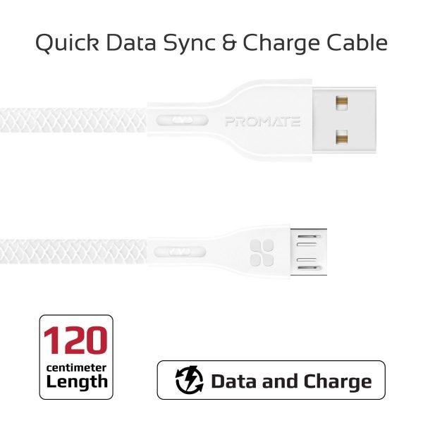 Kabel Data Charger Micro USB PowerBeam Putih PROMATE