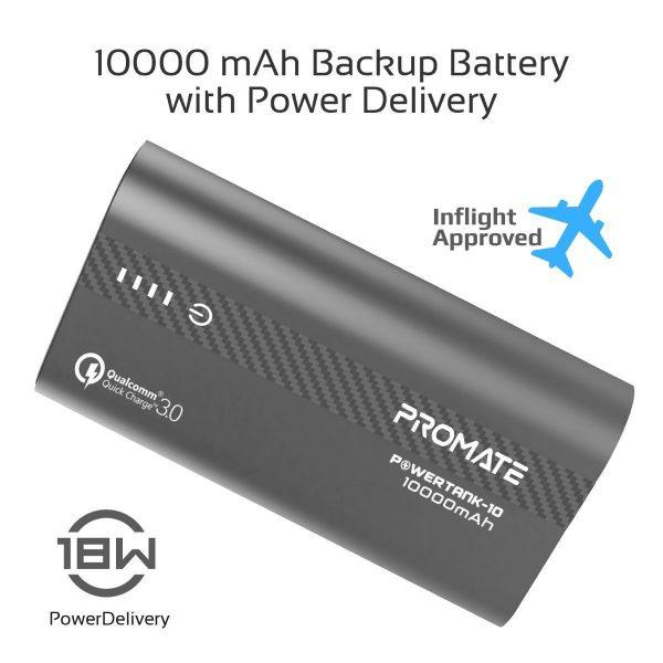 Power Bank 10000 mAh Fast Charging PowerTank Abu-abu PROMATE