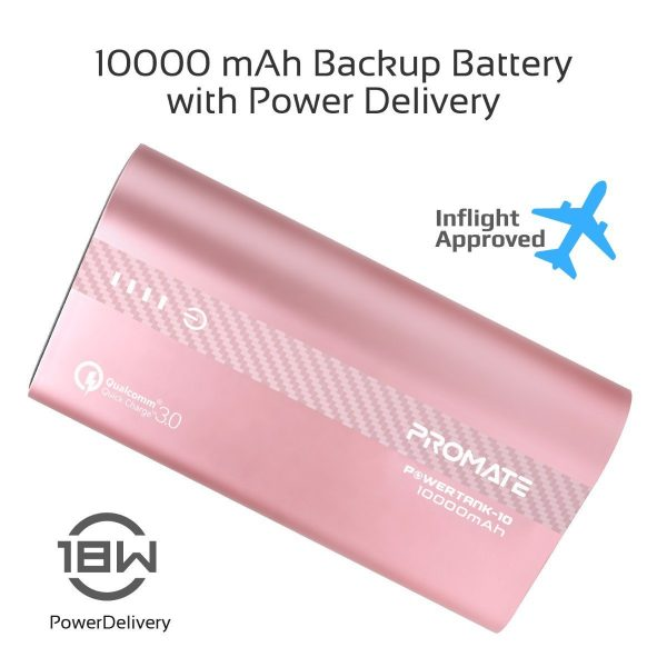 Power Bank 10000 mAh Fast Charging PowerTank Pink PROMATE