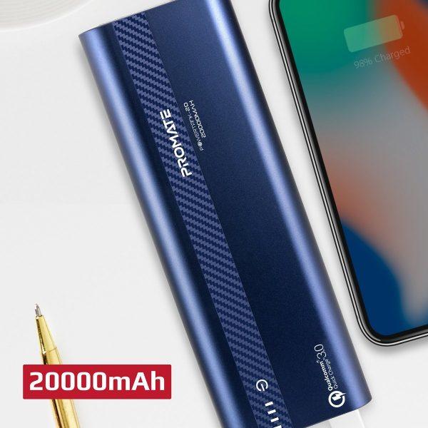 Power Bank 20000 mAh Fast Charging PowerTank Biru PROMATE