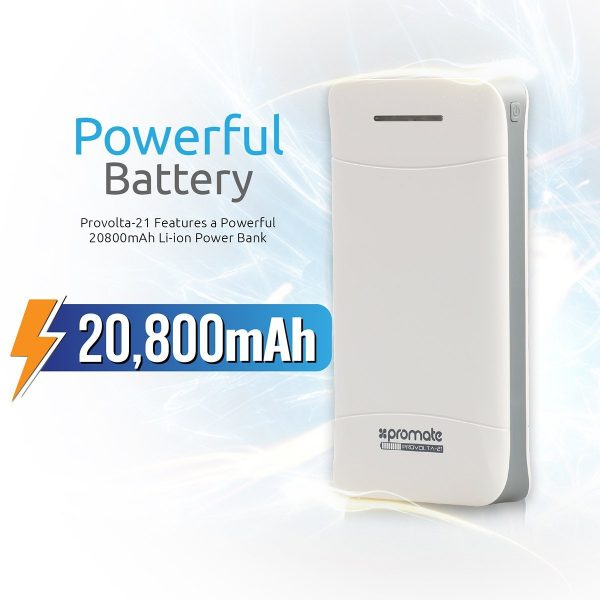 Power Bank 20800 mAh proVolta Putih PROMATE