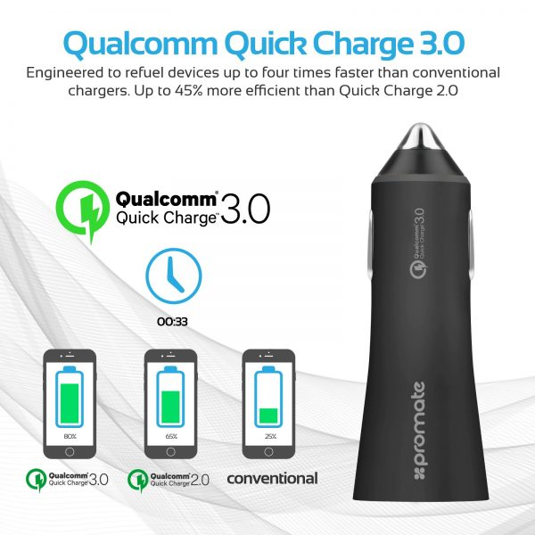 Car Charger Quick Charge Robust Hitam PROMATE