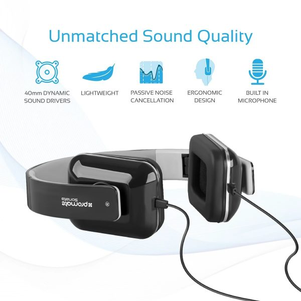 Wired Headset Foldable Over Ear Stereo Putih PROMATE