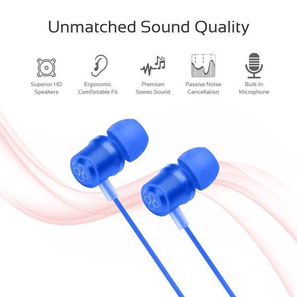 Wired Earphone Stereo Biru PROMATE